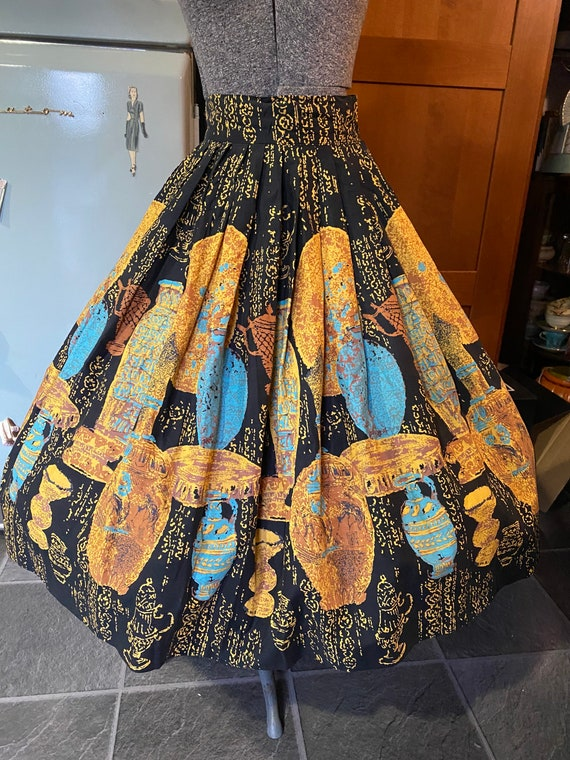 True Vintage 1950s novelty print skirt