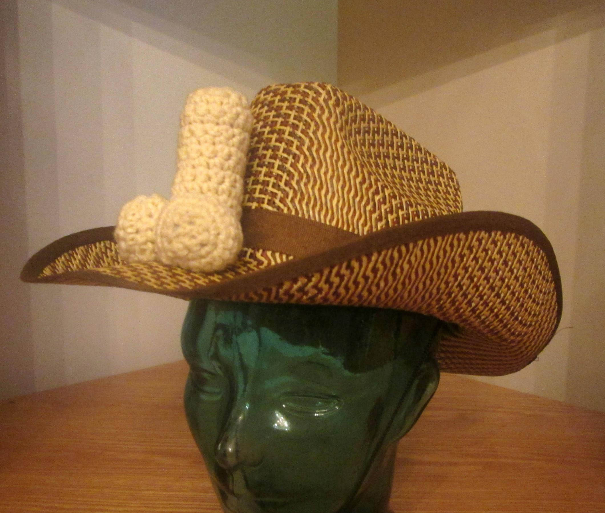 94c962cfc PENIS STRAW HAT, gay cowboy, bachelorette wear, crochet penis, gay pride,  queer hat, pride hat, funny dick hat, straw cock hat, mature hat
