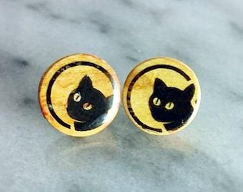 Cat olive wood stud earrings