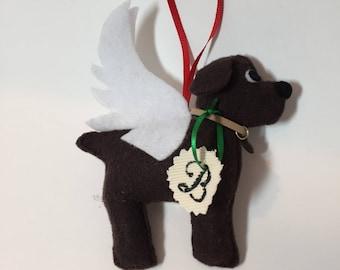 Chocolate Lab, Dog Memorial, Pet Memorial, Brown Labrador, Christmas Ornament, Angel Dog, Custom Pet Portrait, Dog Lover, Pet Lovers Gift