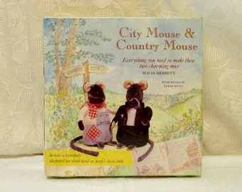 City Mouse & Country Mouse Story Book Craft Kit, Plush Mouse Kit, Aesop Fables, Children's Book, Mouse Book, Stuffed Mouse Pattern Kit,