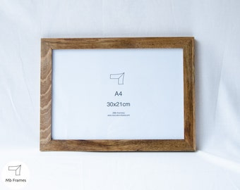 Walnut picture frame- Standard size- Photo frame- Picture frames- Natural wood- Wood- Wall decor- Artwork- Brown color- A4 size