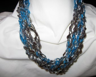 Crochet Necklace made with Ladder Yarn