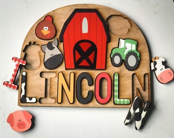 On the farm themed puzzle gift for kids with barn and farm animals