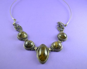 Moss Agate Sterling Silver Necklace
