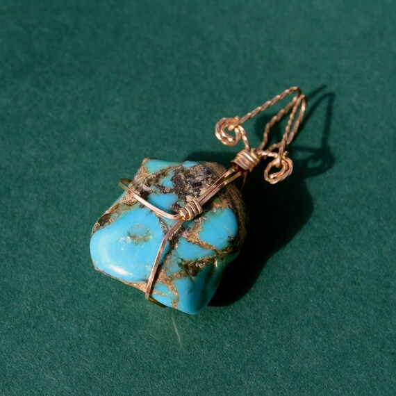 Turquoise and Wire Pendant