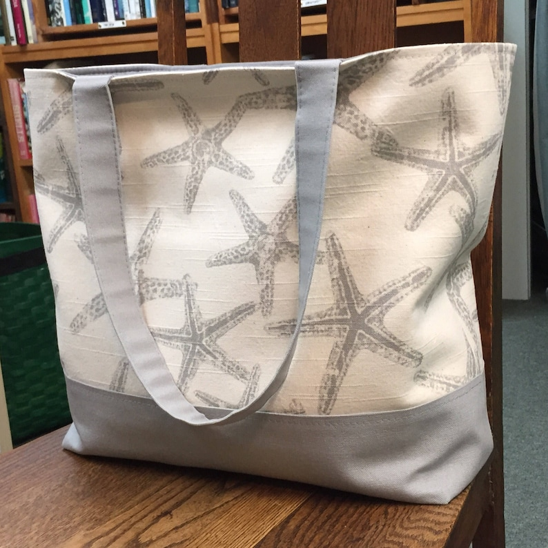 natural color with grey starfish and grey accents large tote Starfish tote