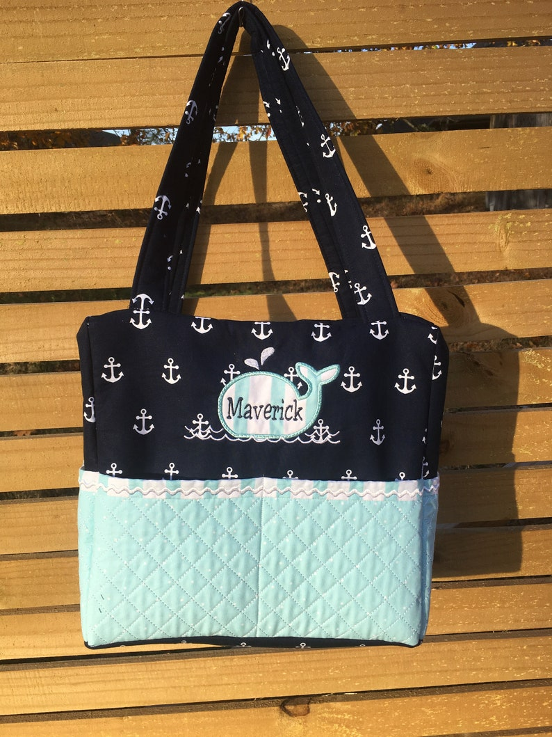 Custom Nautical Diaper Bag with Whale applique Whales  0fb78b4c5aacb