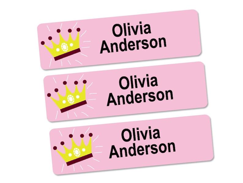 Name Labels for Kids Crown Design Waterproof Labels Daycare Labels