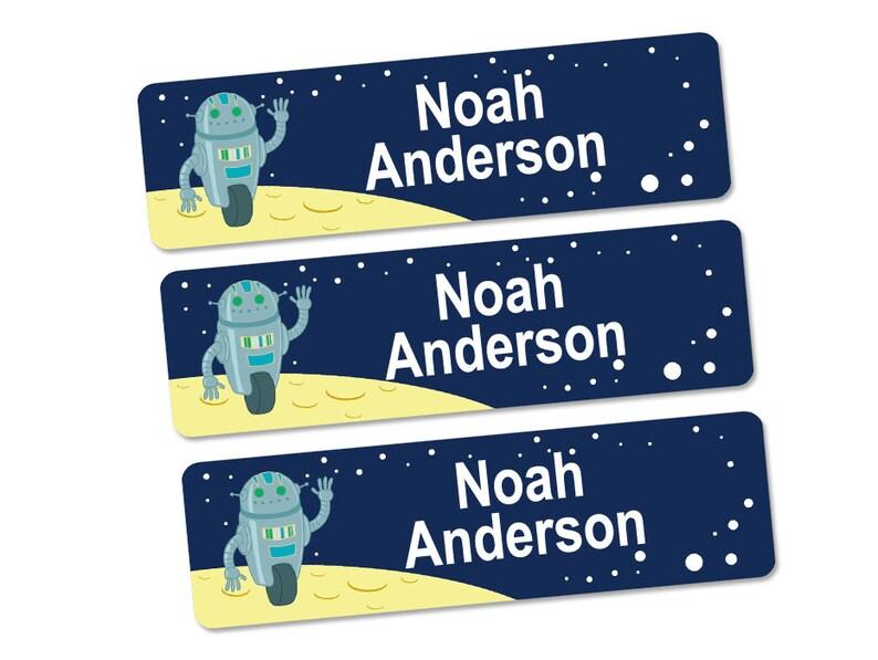 Kids Name Labels, Stick On Name Labels, Waterproof Labels (Robot Design)