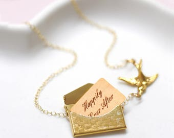 24b72069a77510 Envelope Locket Necklace, Gift For Her, Gift For Wife, Locket Necklace,  Secret Message Necklace, Personalised Envelope Necklace With Bird