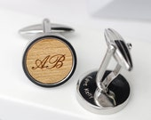 Initial Wooden Cufflinks, Monogram Personalized Cufflinks, Custom Initial Cufflinks, Groomsmen Gift, Personalised Wooden Initial Cufflinks