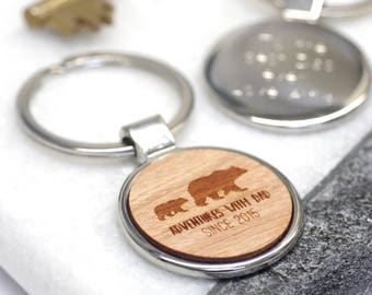 Adventures With Dad Keyring, Wooden Bear Keychain, Papa Bear Gift, Fathers Day Gift, Bear Keyring, Personalised Adventures With Dad Key Ring