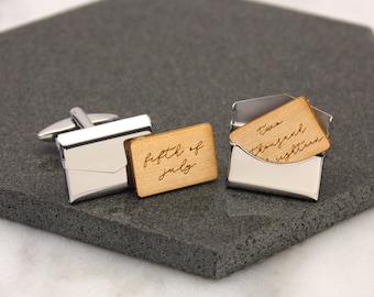 5692916fa796e5 Locket Cufflinks, Envelope Cufflinks, Anniversary Cufflinks, Gift For Him,  Boyfriend Gift, Personalised Written Date Envelope Cufflinks