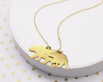 6d125a95f7a786 Gold Mama Bear Necklace, Family Necklace, Personalized Bear Charm, Bear  Charm Necklace, Personalised Mama And Baby Bear Silhouette Necklace