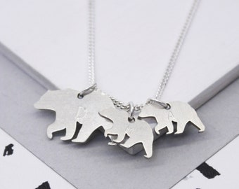 a63d7a95763141 Mama Bear Necklace, Family Necklace, Personalized Mama Bear Charm, Bear  Charm Necklace, Personalised Sterling Mama And Baby Bear Necklace