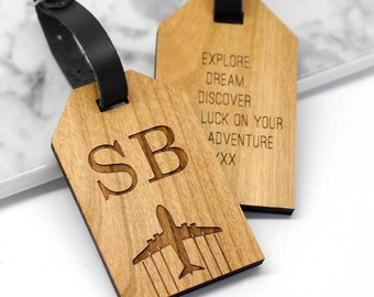 Initials Aeroplane Luggage Tag, Personalized Wooden Luggage Tag, Gift For Him, Husband Gift, Personalised Wooden Initial Luggage Tag