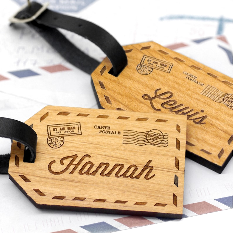 Custom Name Luggage Tags Wooden Personalized Luggage Tag image 0