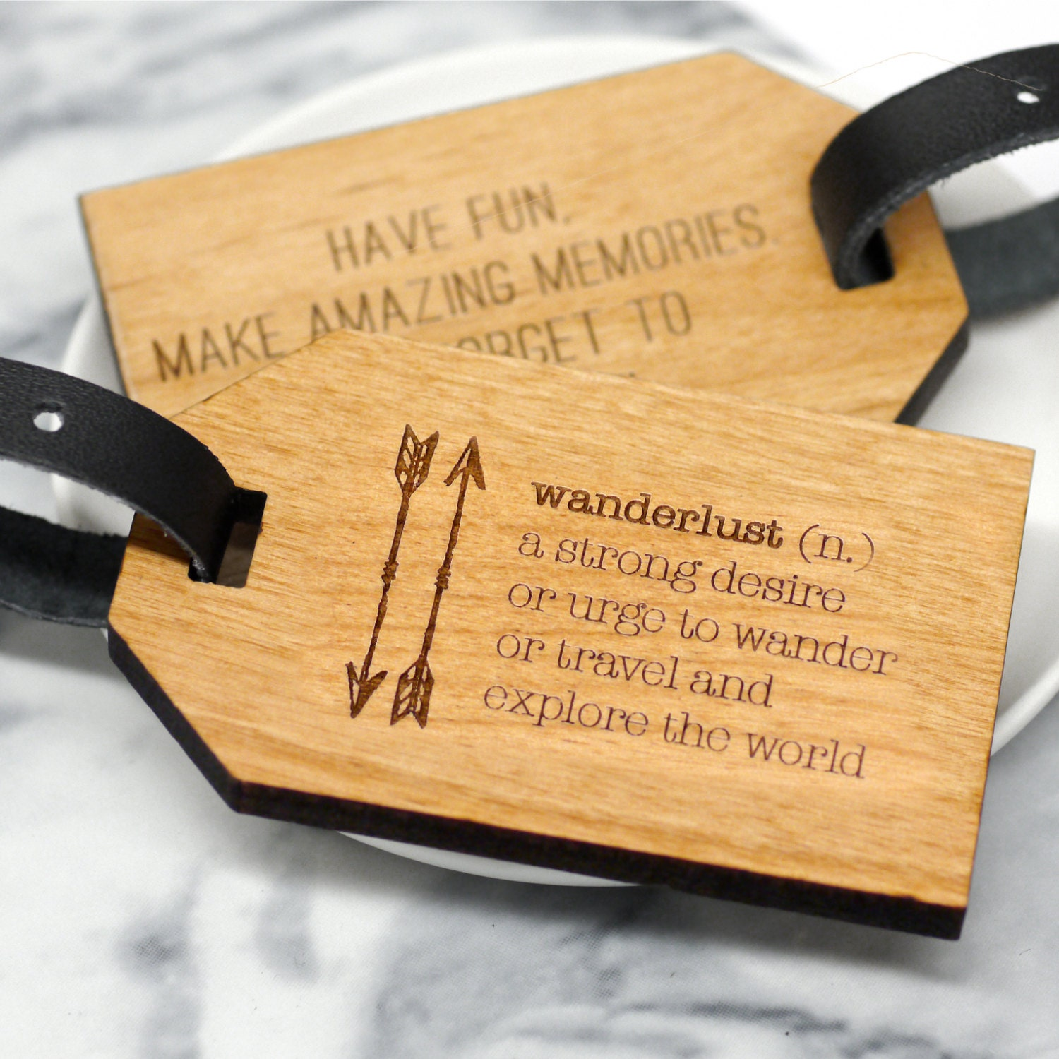 Wanderlust Luggage Tag Wooden Luggage Tag Personalized