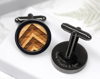 Gun Metal Chevron Cufflinks, Wooden Chevron Cuff links, Shevron Cufflinks, Laser Etched Cufflinks, Geometric Cufflinks, Stylish Mens Gift