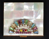 Mother of Pearl Powder Compact with Rhinestones
