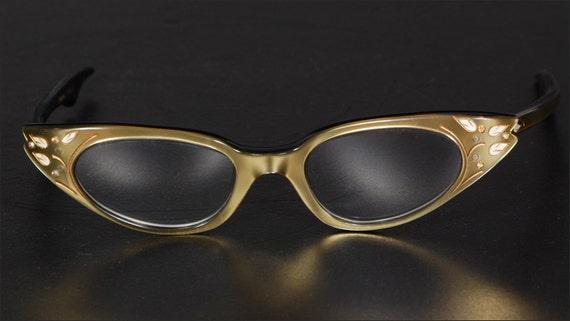 1950's Gold and Enamel Cat Eye Glasses Made in Fra