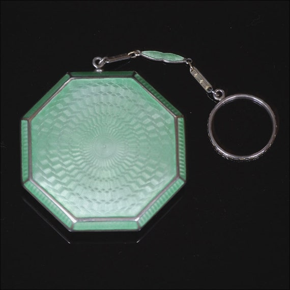 Vintage Pale Green Chatelaine Compact with Finger… - image 2