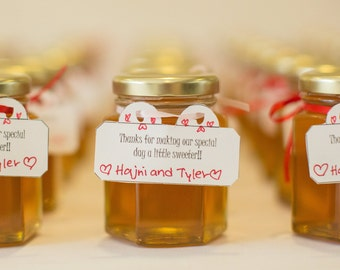 raw honey wedding favors large 375 ounce110 ml case of 24 canada hexagon jar edible custom engagement bridal shower baby shower