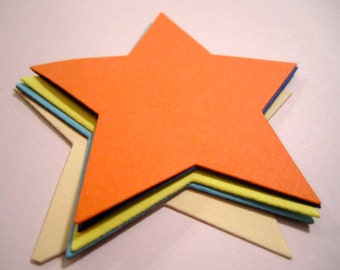 25 Paper Star Die Cut, Cut Out, Star Cut Outs (3/4 inch by 3/4 inch to 4 1/4 inches by 4 1/4 inches) Scrapbook, Baby Shower, Wedding