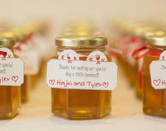 Raw Honey Wedding Favors (Large 3.75 ounce/110 ml, Case of 24), Canada, Hexagon Jar, Edible, Custom, Engagement, Bridal Shower, Baby Shower
