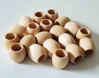 16 mm Unfinished wood barrel beads, 20 beads, large hole beads, wooden beads, macrame supplies, jewelry supplies