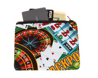 Small affordable inexpensive fun gift for poker bridge solitaire addict player casino las vegas play card upcycle recycled magician magic tricks prime Snap Coin Purse Made From Real Playing Cards