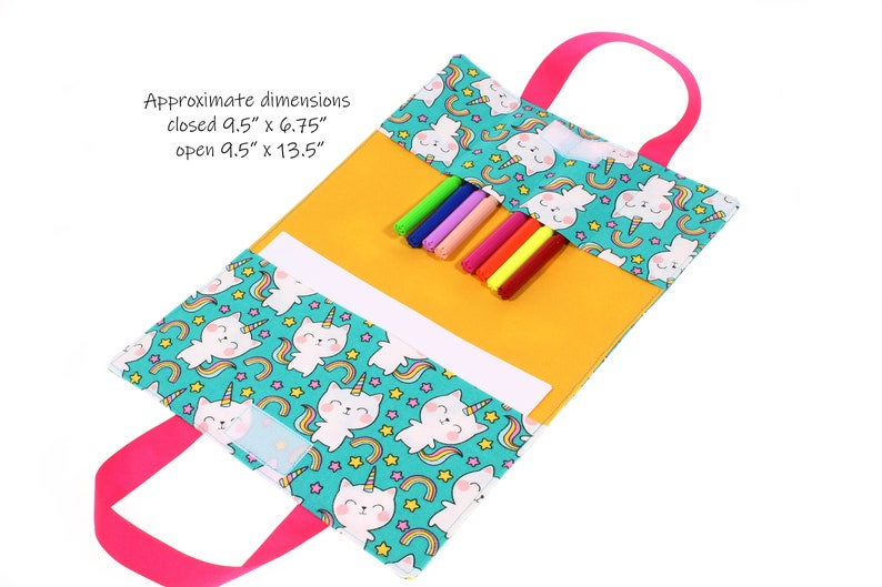 crayon holder kids activity bag child art folio PDF pattern travel drawing case with handles instant download car coloring case