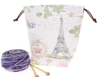 Paris knitting bag, Paris wide mouth opening crochet cinch bag, drawstring knitting project bag, wedge knitting bag, yarn bowl bag tote