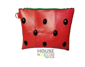 Ready to Ship Watermelon Zipper Pouch - Small Clutch - Wristlet - Makeup Bag - Cosmetic Bag - Valentine Gift - Teacher - Watermelon Slice