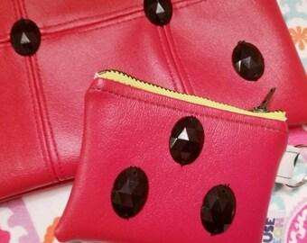 Ready to Ship Watermelon Zipper Pouch - Small Clutch - Wristlet - Makeup Bag - Cosmetic Bag - Keychain - Teacher Watermelon Slice Coin Purse