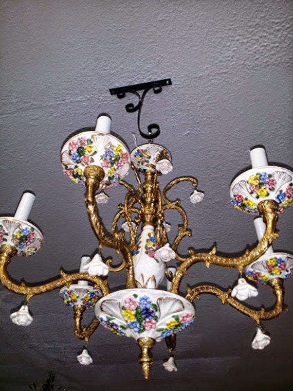 image 0 - Porcelain Chandelier Capodimonte 6 Arm Vintage Gold Gilt Etsy