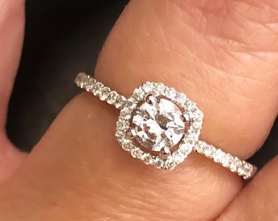 14K White Gold Ladies Diamond Halo Engagement/Promise Ring, TDW .63ct