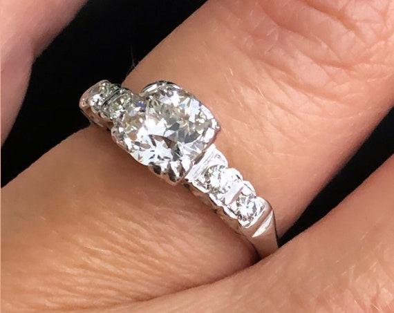 14K White Gold Vintage 1ct European Cut Diamond  Engagement Ring, TDW 1.12ct