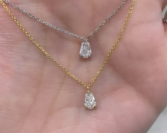 14K Solid White and Yellow Gold Step Cut Shield .37ct Natural Mined Diamond Solitaire Pendant  (F/G,VS)
