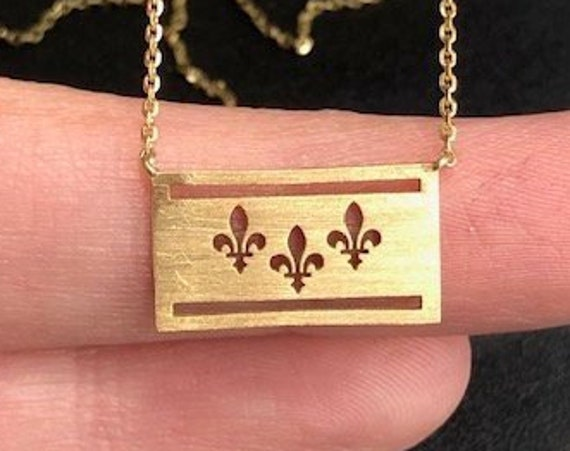 14K Solid Yellow Gold New Orleans, Louisiana Flag Necklace