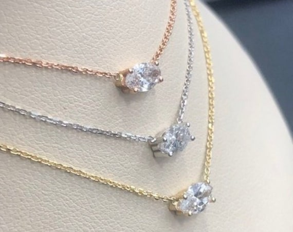14K Rose, White or Yellow Gold Floating Marquise Diamond Solitaire Necklace
