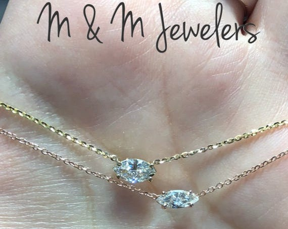 14K Rose Gold Marquise Diamond Solitaire Necklace. YELLOW SOLD OUT