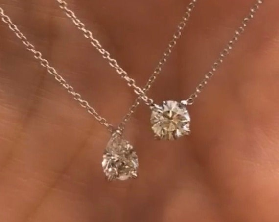 14K White Gold Diamond Solitaire Necklace in Round Brilliant Cut or Pear Brilliant Cut Diamond