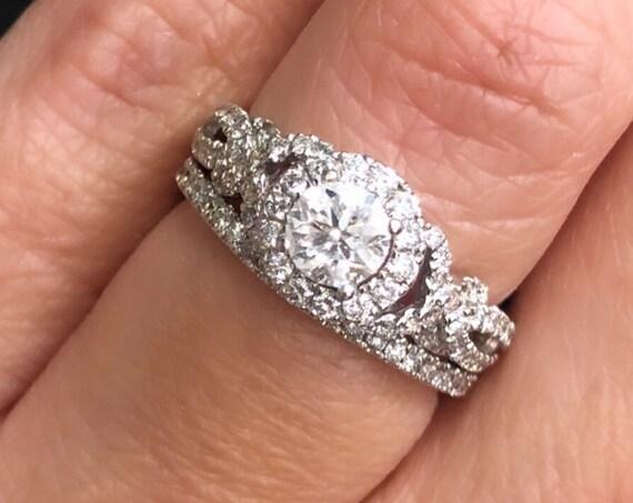 14K White Gold Diamond Halo Engagement/Promise Ring and Wedding Band! 2pc Set TDW 1.18ct