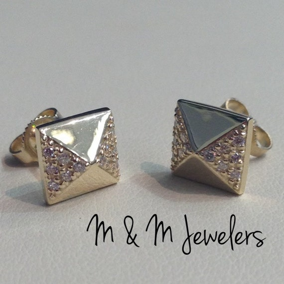 14K Yellow Gold Pyramid Pave Set Diamond Stud Earrings