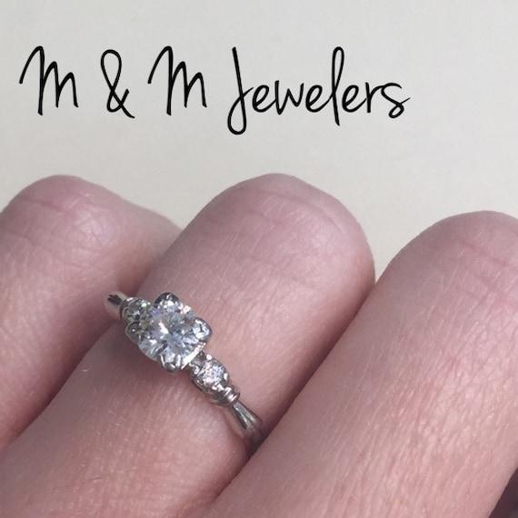Platinum Ladies Diamond .53ct Art Deco Antique Ring