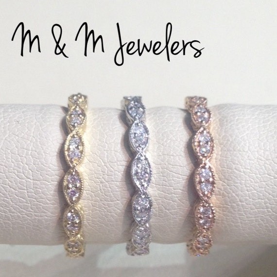 14K Rose, White, and Yellow Gold Antique Style Pave Set Diamond Stacking Eternity Bands