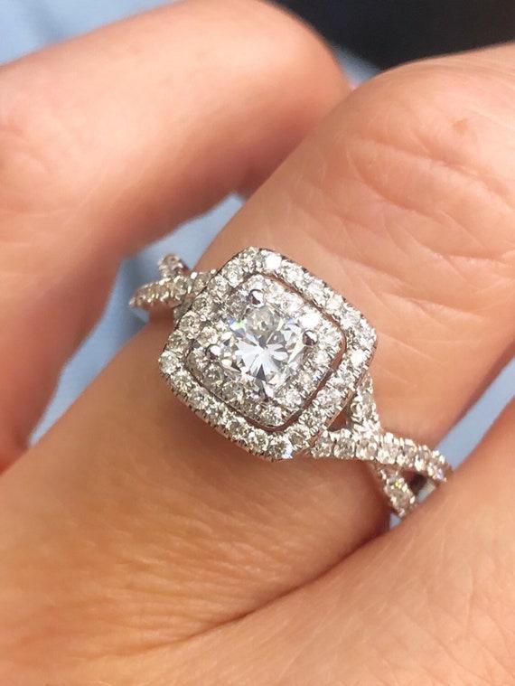 14K White Gold Cushion Cut Double Halo Twisted Shank Engagement Ring, TDW .91ct