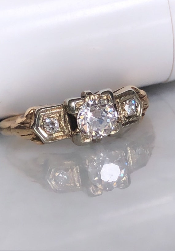 14K Yellow Gold Vintage Art Deco 3 Stone Diamond Engagement/Promise Ring